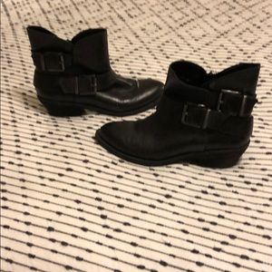 Black, Genuine leather, low heel ankle boots